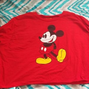 Red Long Sleeve Mickey Mouse Crop Top